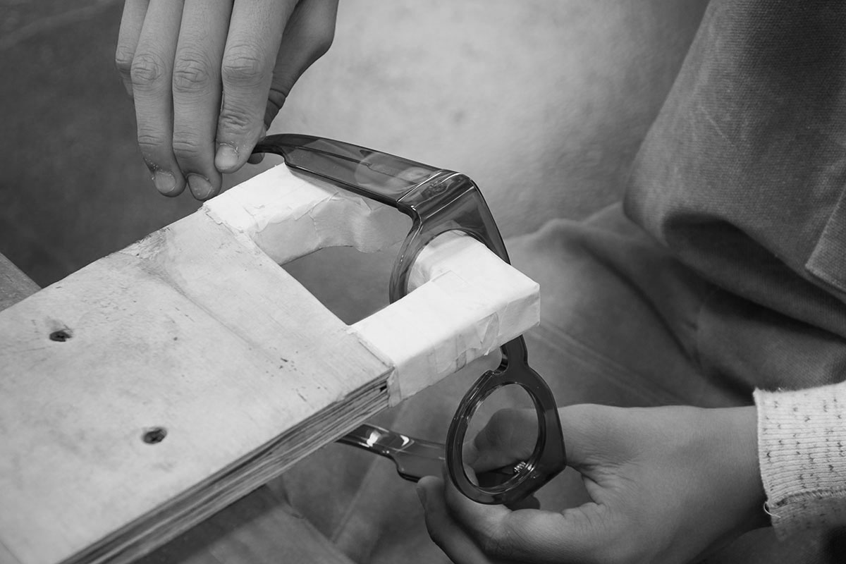 Sienna sunglasses being handcrafted at the Tom Davies London factory