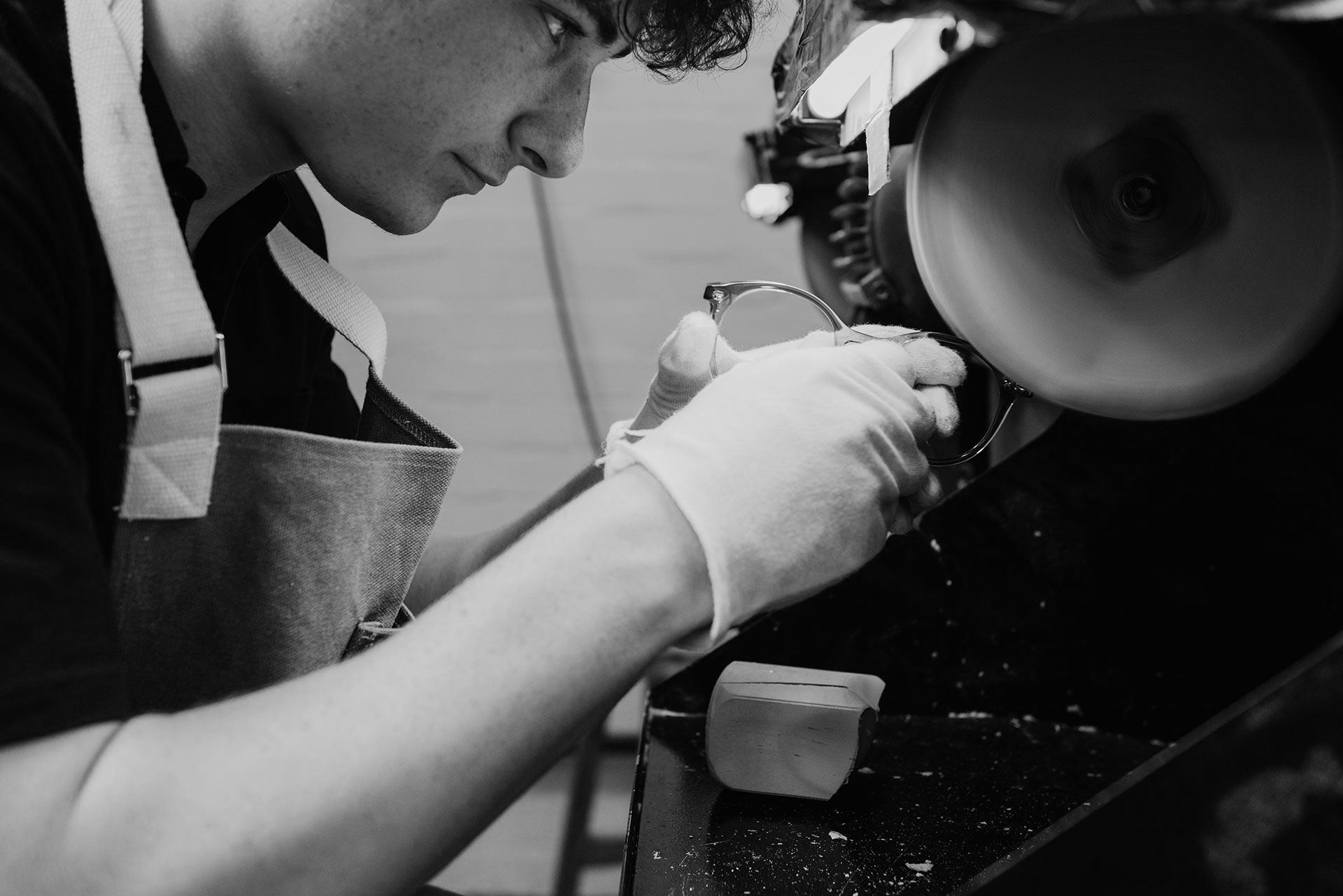 Tom Davies frames being handpolished by an expert craftsman in the brand's London factory