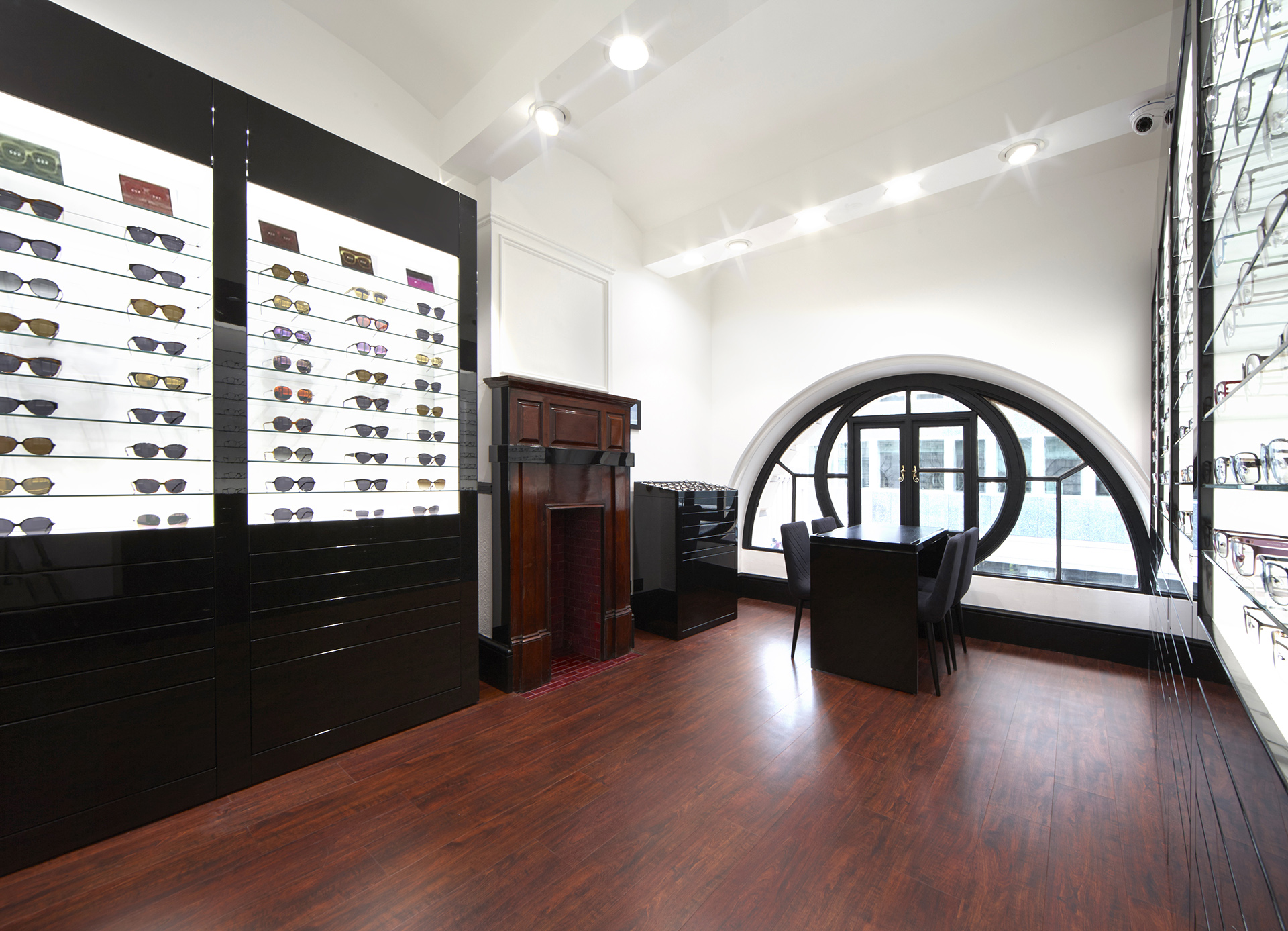 Shop floor of Tom Davies Bespoke Opticians in Royal Exchange, City of London