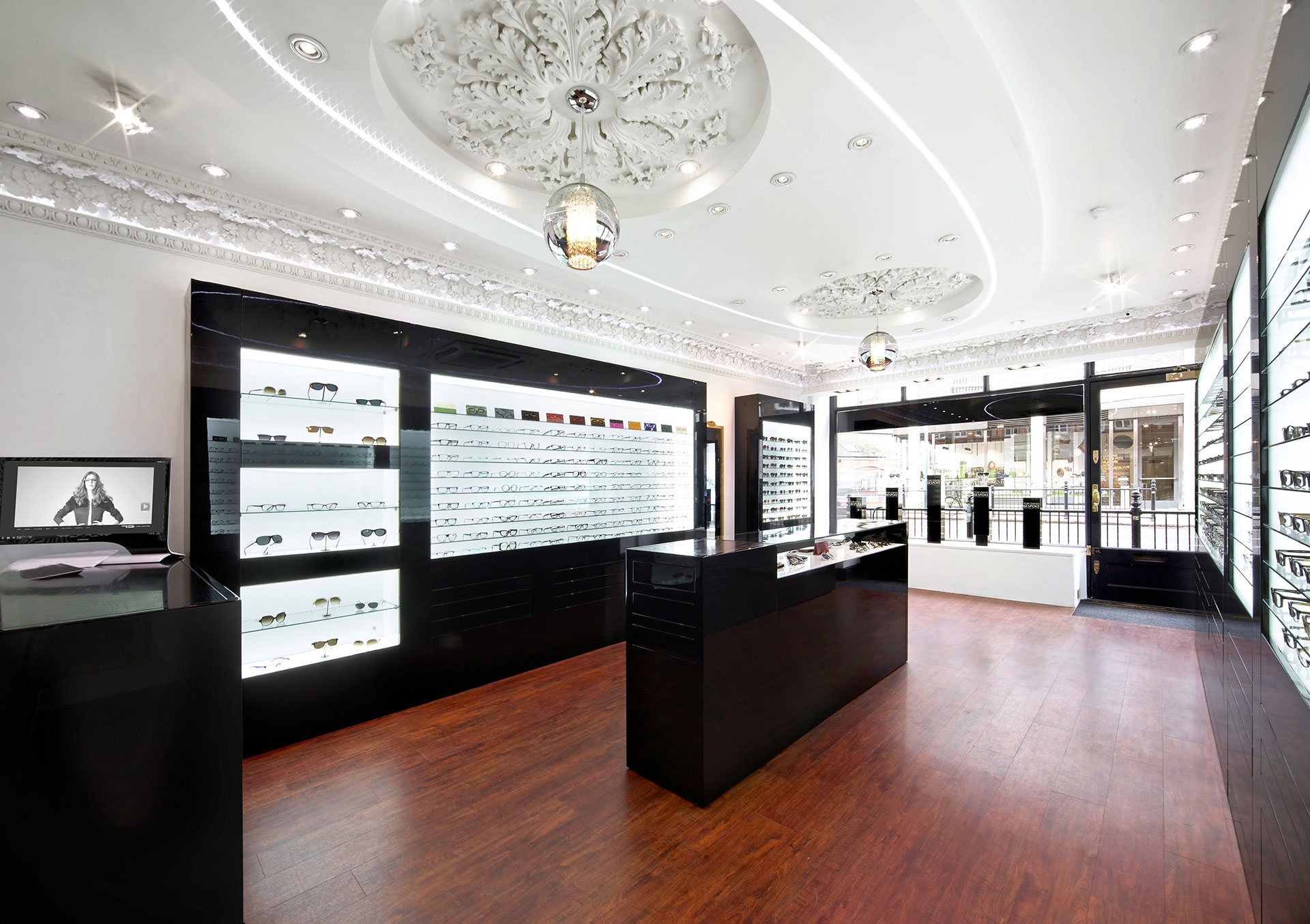 Shop floor of Tom Davies Bespoke Opticians in Sloane Square, Chelsea