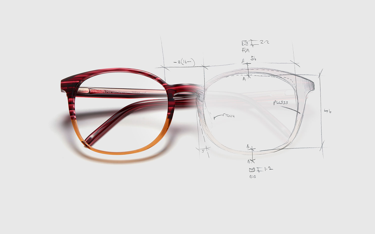 Frame sketch of 1983 acetate frame by British eyewear designer Tom Davies